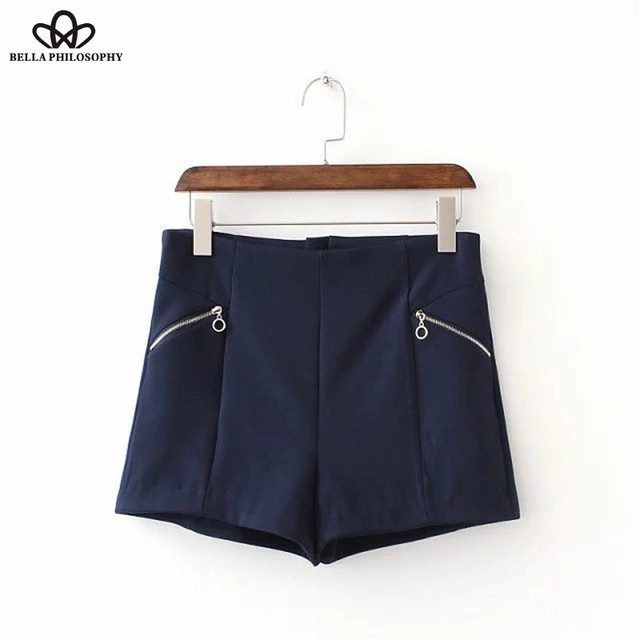 Bella Philosophy 2017 new spring summer Zipper Shorts white Dark-blue