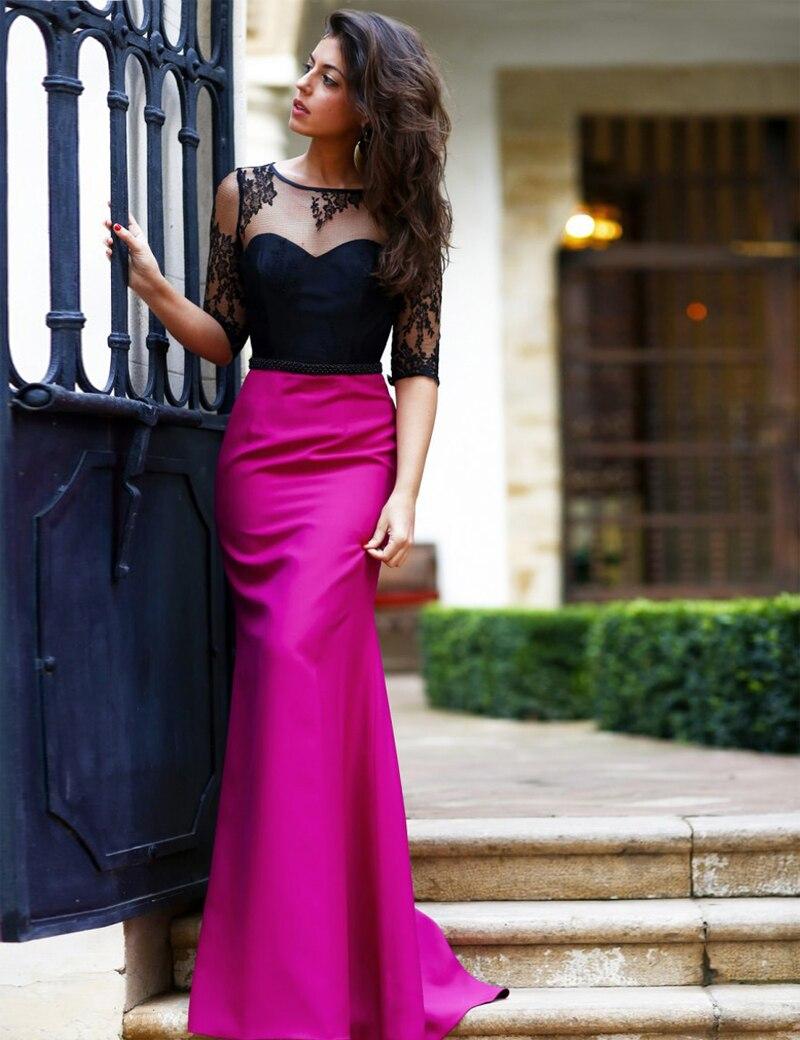 New Trend Sheer Scoop Neck Open Back Long Evening Dress Y