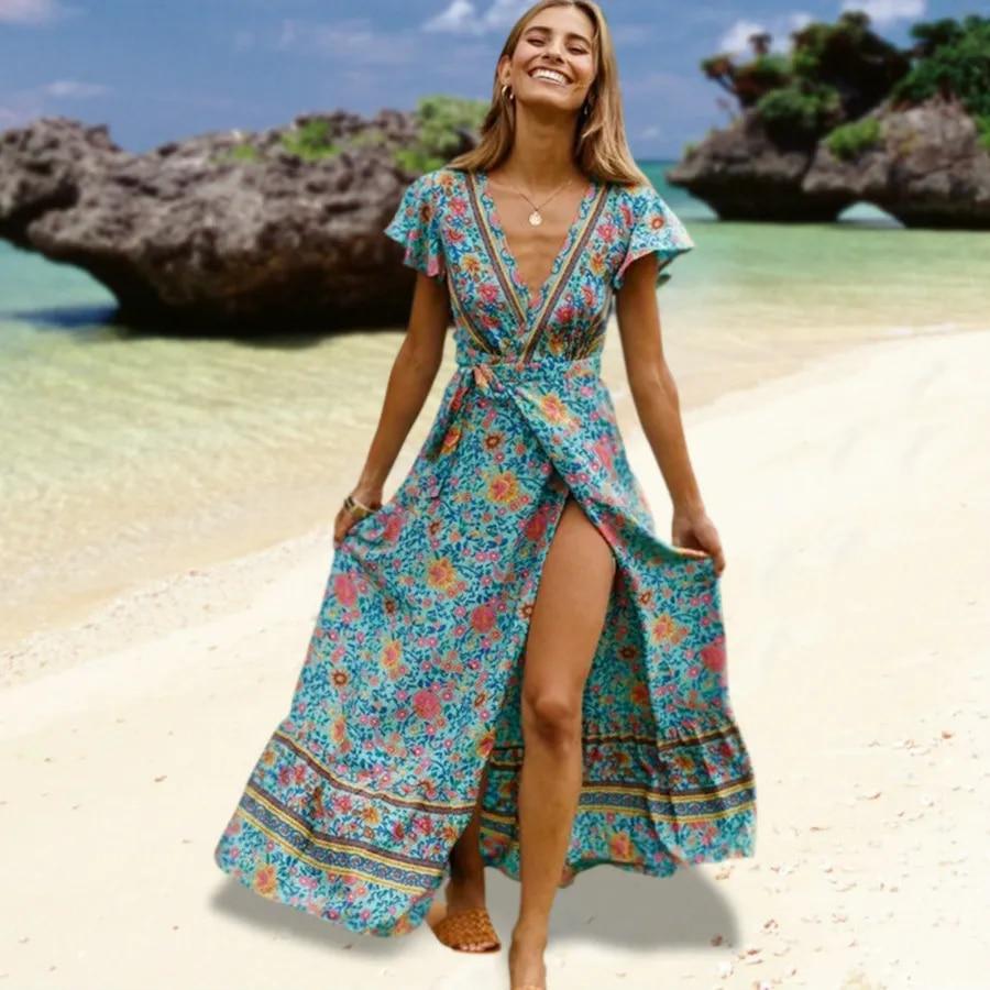 website for discount release info on amazon 3XL Sexy Long Maxi Dress Women Summer Floral Slip Boho Beach Dress Short  Sleeve Evening Party Dress Vestidos Plus Size Blue
