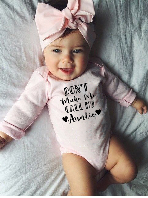 Infant Newborn Baby Boy Girls Cotton Letter DON'T MAKE ME CALL MY AUNTIE Long Sleeve Bodysuit Playsuit Baby Grows Outfits