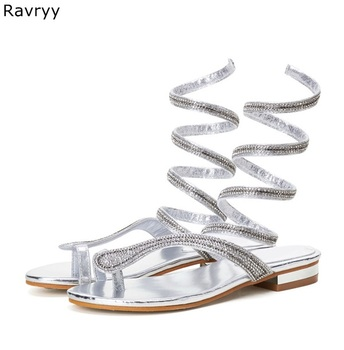 Summer fashion bling bling rhinestone decor ankle straped Woman silver sandals low heel decor female party dress shoes
