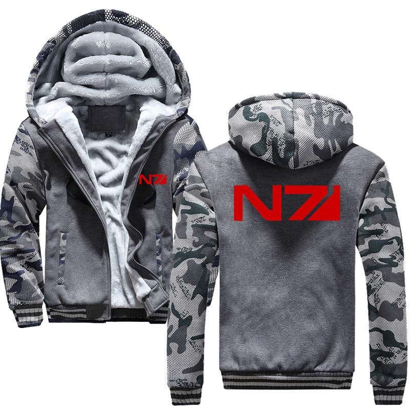 Men Mass Effect N7 Zipper Jacket Sweatshirts Thicken Hoodie Coat Casual sweatshirts men fashion