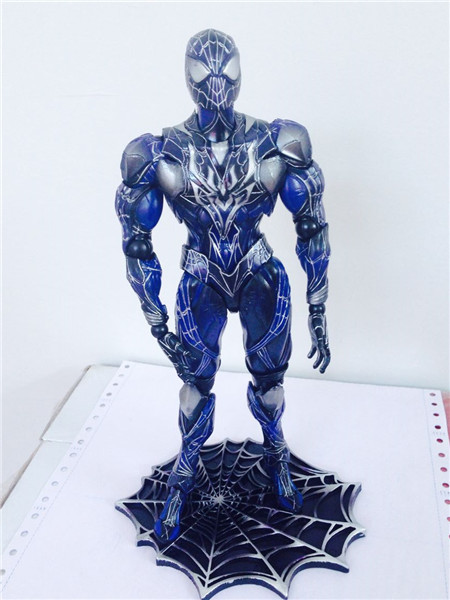 Play Arts Kai Spider Man Spider Blue Ver Venom Spiderman PA Figure Secret Wars Peter Parker 27cm PVC Action Figure Toys tobyfancy spider man action figure play arts kai collection model anime toys amazing spiderman play arts spider man