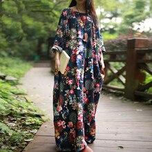 Floral Print Cotton Linen Dress 2018 Spring Summer Long Maxi Dress Casual Long Sleeve Plus Size Dress 5XL 4XL 3XL Baggy Vestidos