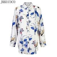 JKKUCOCO 2017 Fashion Women Shirts Chinese Style Nice Flowers Print Shirt Women Shirts Summer Cotton Shirt