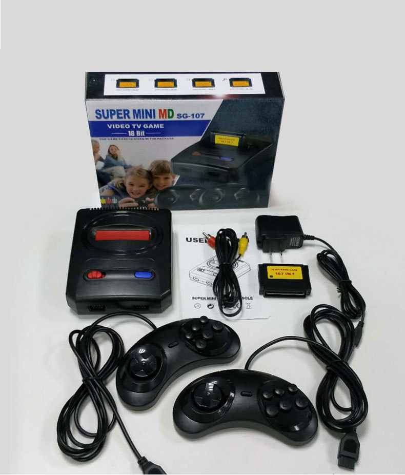 CAN use game card SUPER mini 16 bit MD16 SG-107 AV out family games TV video game console free 16 BIT 167 sega games