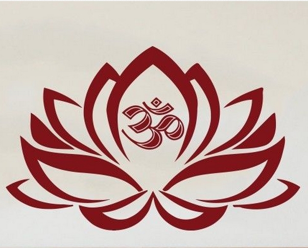 Yoga Lotus Vinyl Wall Decal Lotus Flower Decal Om Symbol Mural Wall