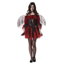 Adult Women Wicked Evil Red Black Sexy Angel Cosplay Costume Fantasia Halloween Purim Carnival Mardi Gras Party Dress