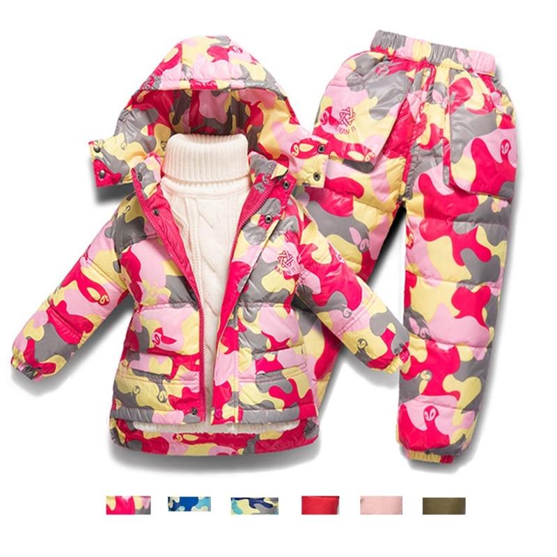 Thicken Warm Down Parkas Boys Ski Snowsuit Sets Winter 2017 Hoodies Down Jacket+ Down pants Todder Boys Girls Clothes IY330