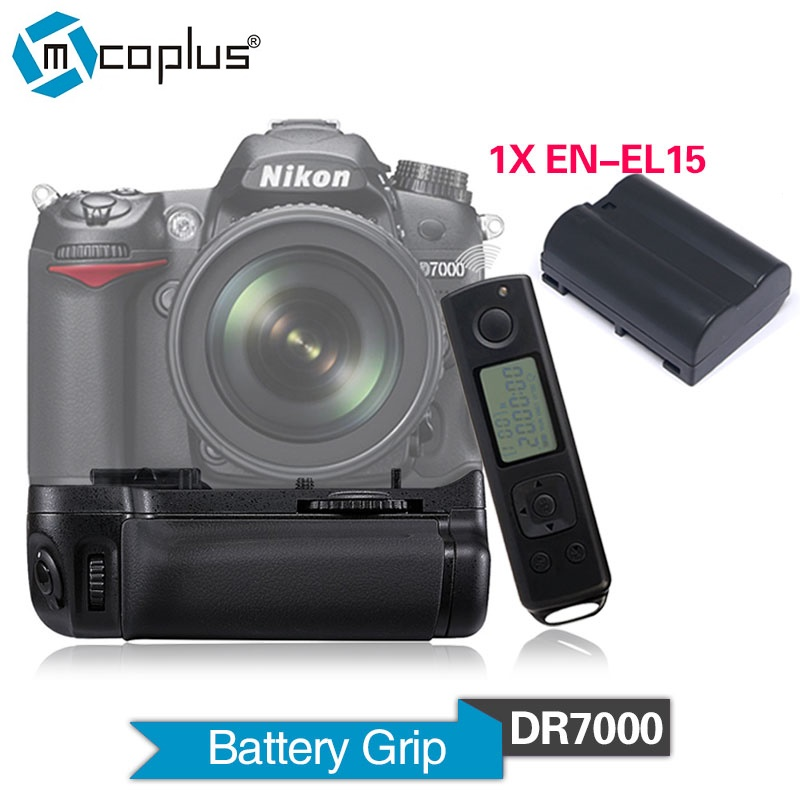 Mcoplus Venidice DR7000 Vertical Battery Grip with 1x EN-EL15 Battery for Nikon DSLR D7000 Camera With 2.4Ghz Wireless Control meike mk dr750 mb d16 built in 2 4g wireless control battery grip for en el15 nikon d750 dslr camera