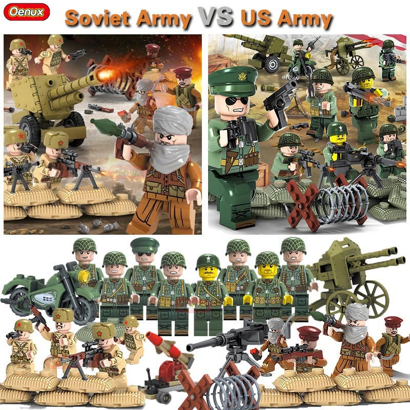 Oenux World War 2 USA Army VS Soviet Army Military Building Block Toy WW2 Soldier Figures With Weapons Model MOC Brick Kids Toys free shipping super affordable military base 310pcs set plastics toy soldier sand table model army soldier boy christmas gifts