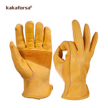 Kakaforsa Fashion Genuine Yellow Leather Men Winter Gloves Outdoor Sports Windproof Warm Gloves Full Finger Running Glove