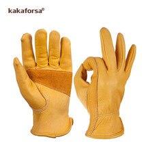 Kakaforsa Mode Echt Geel Leer Mannen Winter Handschoenen Outdoor Sport Winddicht Warme Handschoenen Volledige Vinger Running Handschoen
