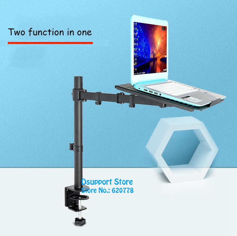 Desktop Full Motion Dual Use 10-15.6 inch Laptop Mount Holder + 10-27 inch Monitor Holder Arm Bracket loctek d5f2 dual use notebook laptop mount arm monitor holder with usb fan lapdesk for 15 6 inch laptop and 10 27 monitor