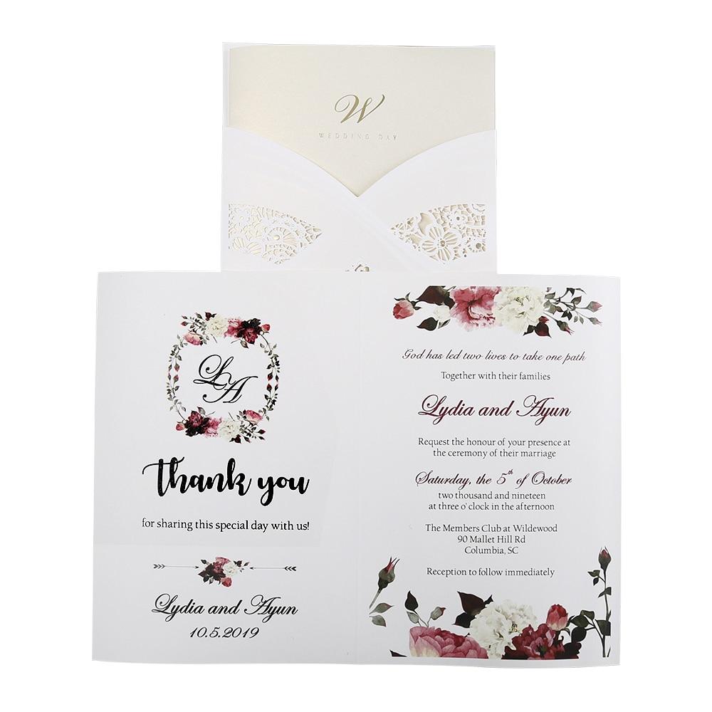 100gab. Karstā modes lāzera griešanas baltās dobās floras kāzu - Svētku piederumi
