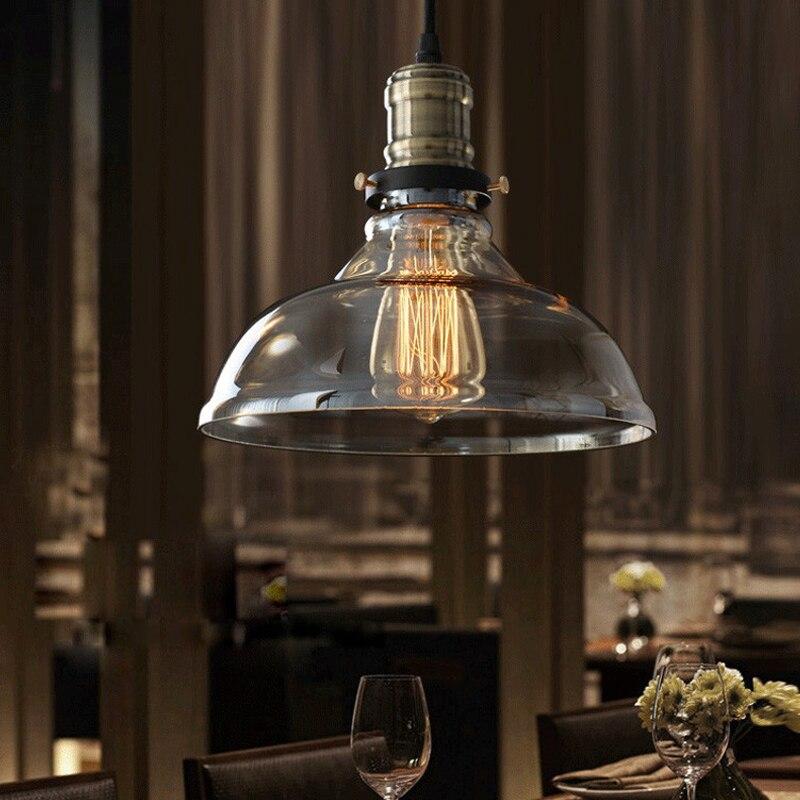 Suspension vintage américaine en verre clair suspension cloche suspension E27 110 V 220 V pour salle à manger décor à la maison planétarium - 2