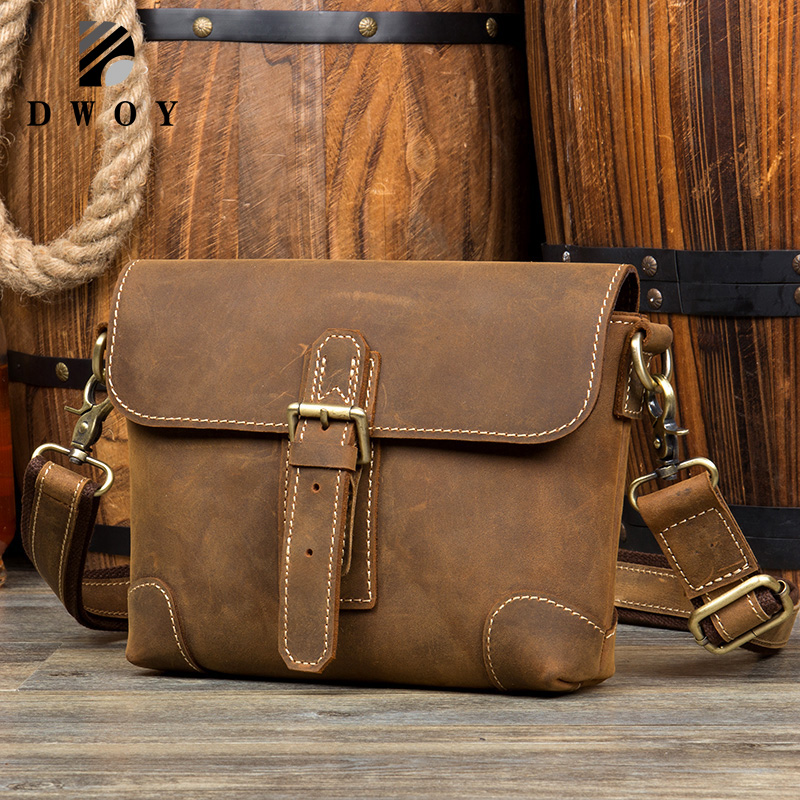 DWOY Crazy Horse Genuine Leather Male Mens Over Shoulder Messenger Handbag Casual Crossbody Bags For iPads Waist Packs BagsDWOY Crazy Horse Genuine Leather Male Mens Over Shoulder Messenger Handbag Casual Crossbody Bags For iPads Waist Packs Bags