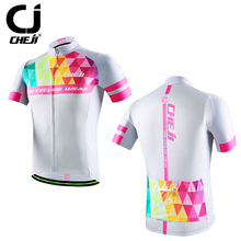 Reflective CHEJI Men's Cycling Jersey Top Bicycle Wear Bike Team Cycling Shirts S-XXXL Summer