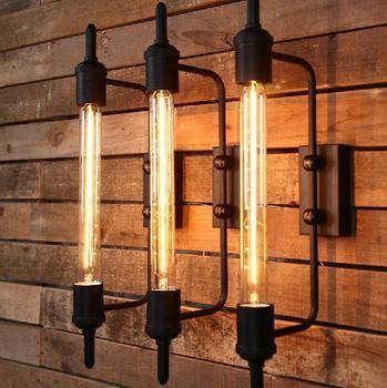 Loft Amerikan Country Vintage Endüstriyel Depo Başucu Bar Ayna Buhar Tüpü Edison Duvar Aplik Lamba Aydınlatma Armatürü