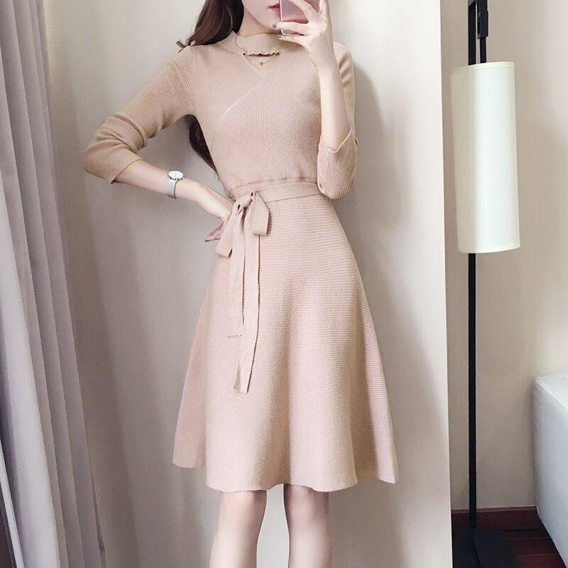 Automne et hiver col épais pull en tricot robe femmes tricots robes de dame à manches longues fille vêtements solide tenue