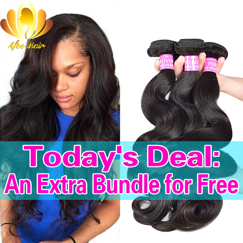 Afee Hair Products Peruvian Virgin Hair Body Wave 4 Bundles Peruvian Body Wave 8-30 inch Human Hair Weave, Virgin Peruvian Hair