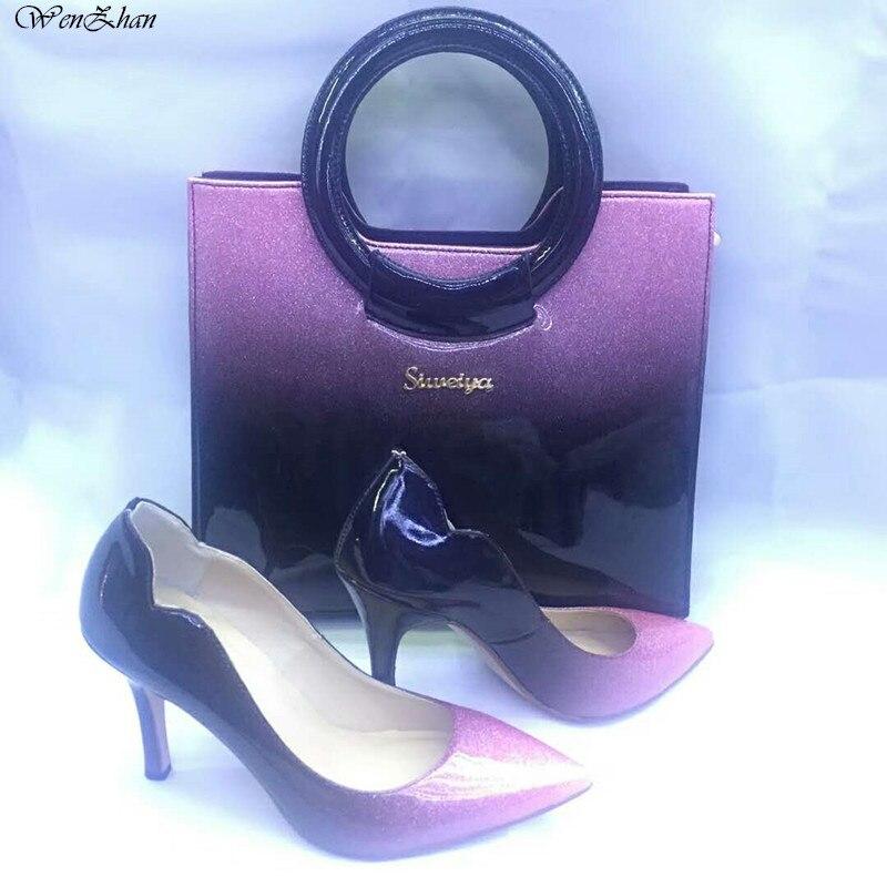 רך עקבים גבוהים נשים משאבות עם תיק סטי 37-43 מעורב בצבע דק העקב הבוהן מחודדת נעליים עם תיק רך הכי חדש A85-15