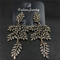 Retro full rhinestone earrings fashion jewelry in Europe and America long banquet leaves hyperbole jewelry 997