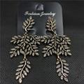 Retro pendientes llenas de diamantes de joyería de moda en Europa y América Del banquete largo hojas hipérbole joyería 997