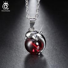 ORSA JEWELS 925 Sterling Argent Rouge Agate Dauphin Pendentif Colliers pour Femmes Véritable Argent Bijoux Cadeau SN02(China (Mainland))