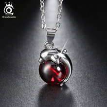 ORSA JEWELS 925 Sterling Silver Red Agate Dolphin Pendant Necklaces for Women Genuine Silver Jewelry Gift SN02