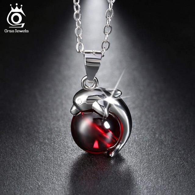 ORSA JEWELS стерлинговое серебра 925 пробы, красный агат дельфин кулон, ожерелье для женщин подлинные серебряные ювелирные изделия, SN02