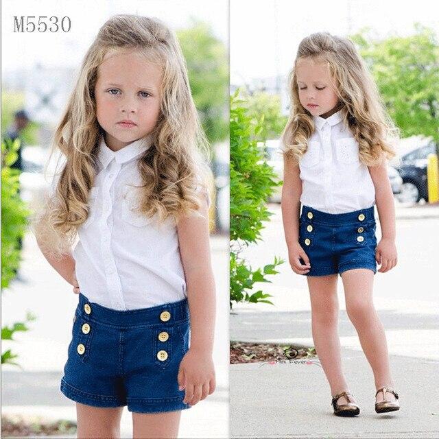0ef05037bd32 Fashion Children Set Child Girls Kids Clothes White Girl Blouse Shirts +  Denim Blue Shorts Button