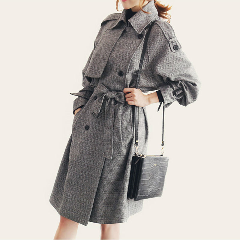 2019 Spring Autumn   Trench   Coat For Women Plaid Fashion Full Sleeve Belted Windbreaker Female Long Loose Double-breasted Overcoat