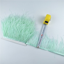 5Meters/10Meters Mint Green Ostrich Feather Trims 10-15CM Skirt/dress White Black Feathers for Crafts Plumage Clothing