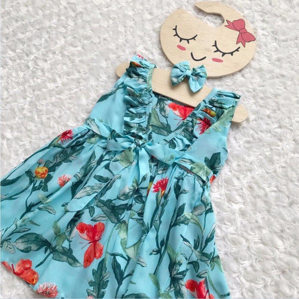 Vogue Kids Girls Clothes Bez rękawów Ruched Bow Blue Dress Floral - Ubrania dziecięce - Zdjęcie 3