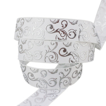 (10 yards/lot) 25mm White Silver Hot stamping grosgrain ribbon gift wedding ribbons