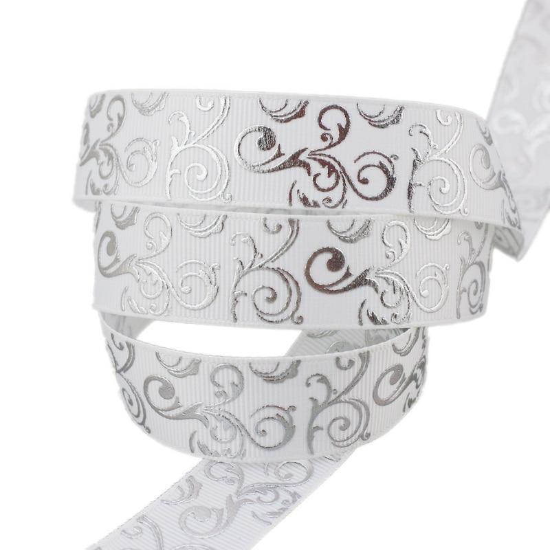(Мм 10 ярдов/партия) 22 мм белый серебряный горячего тиснения корсажная лента подарок свадебные ленты
