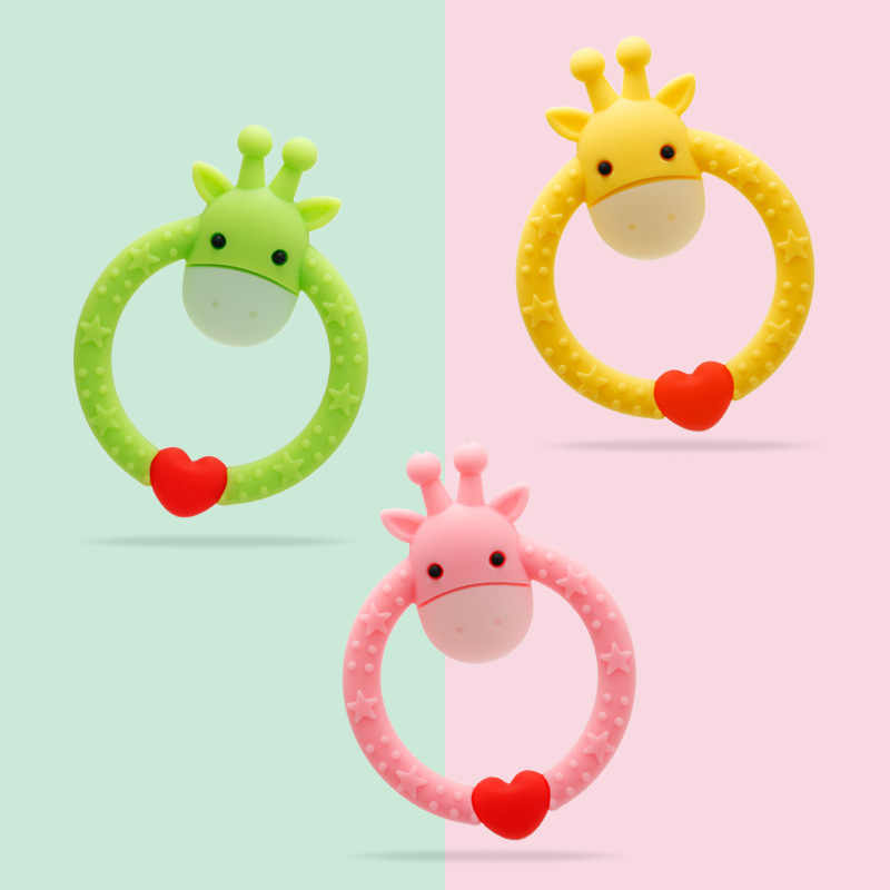 Baby Silicone Teether BPA Free DIY Cartoon Deer Ring Teethers Infant Chew Charms Kids Teething Nursing Toddle Necklace Toys