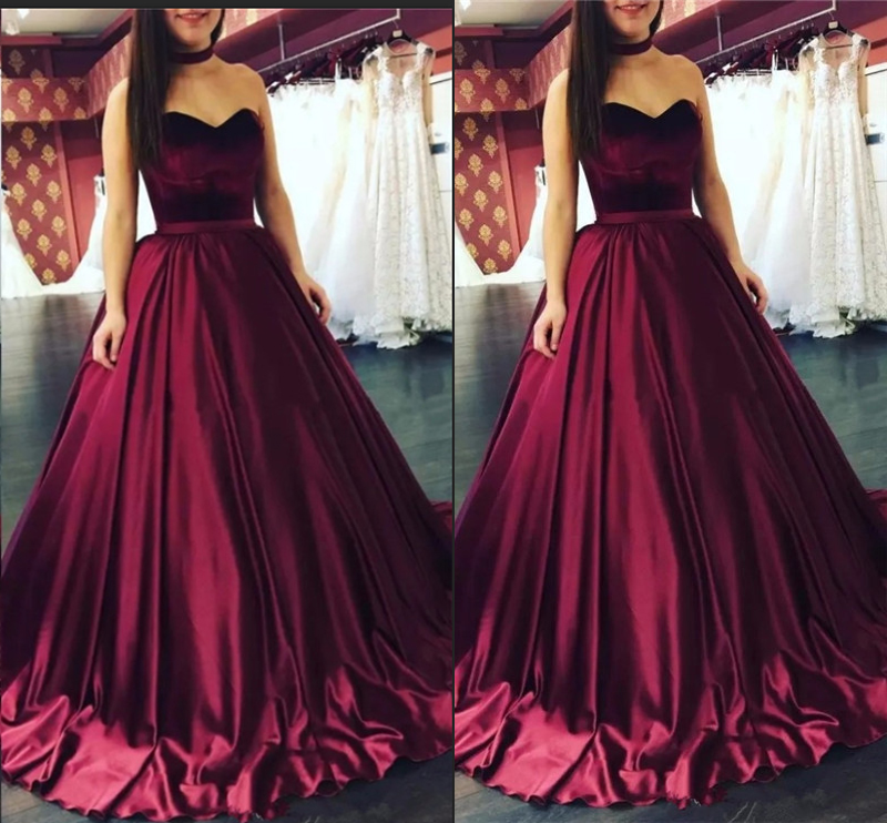 Sweetheart Prom Dresses Velvet Quinceanera Ball Gown Formal Dresses Floor Length Cheap 2019 Satin Party Gowns