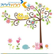 wise owls on colorful tree wall stickers for kids rooms ZooYoo1001S decorative adesivo de parede removable pvc  decal