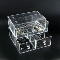 New Glasses Storage Drawer Clear Acrylic 2 Layers Cosmetic Organizer Makeup Case Holder Display Stand