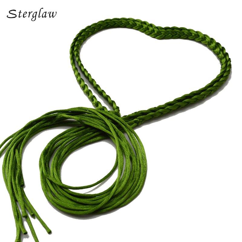 17 Color New Long Braided Rope Chain Waist Belts Women With Tassels 2019 Fashion Woven Female Belt Cinturon Cadena Mujer J108