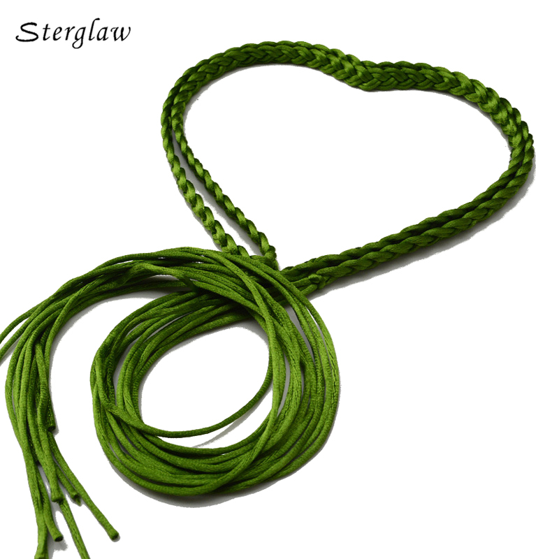 17 Color New Long Braided Rope Chain Waist Belts Women With Tassels 2020 Fashion Woven Female Belt Cinturon Cadena Mujer J108