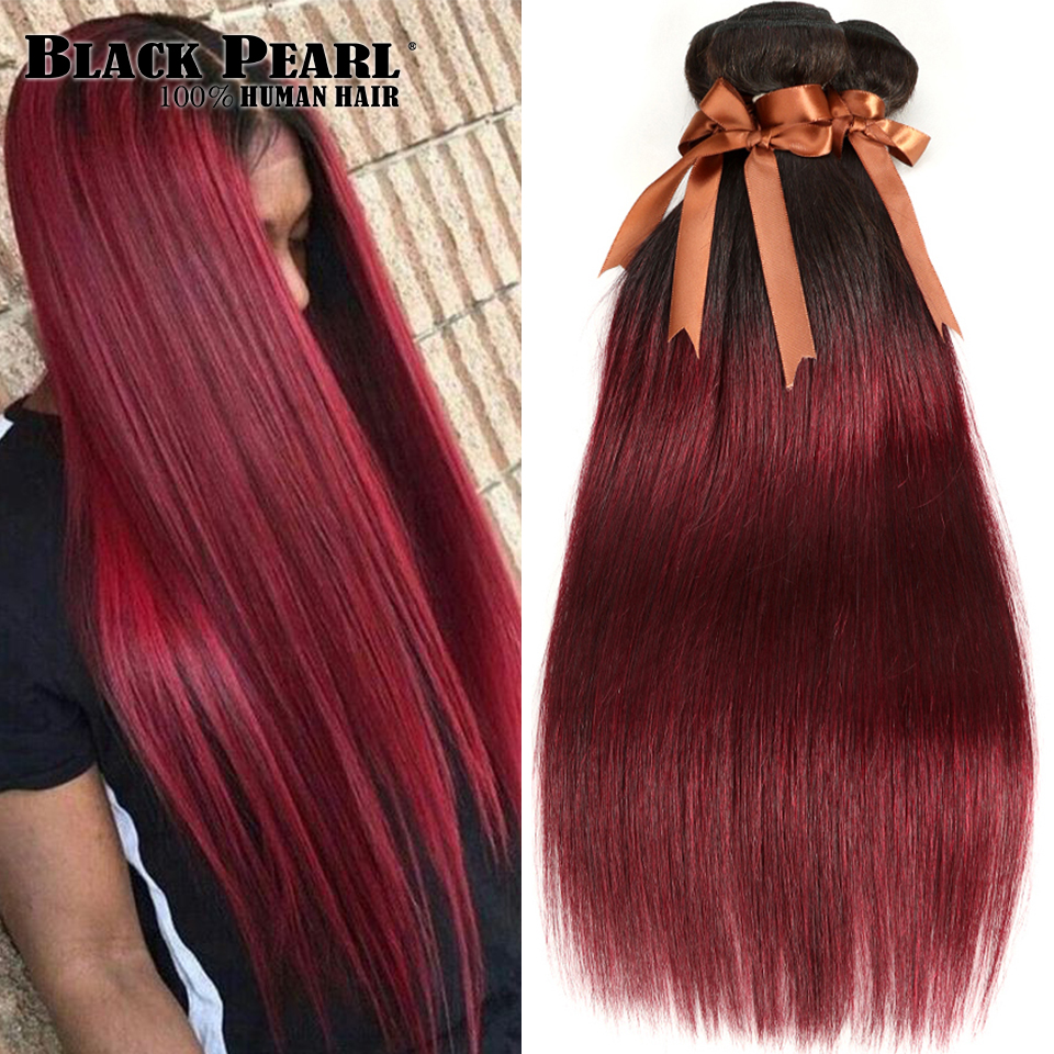 Black Pearl Ombre Bundles With Closure Two Tone 1B 99J Red 3 4 Bundles With Closure