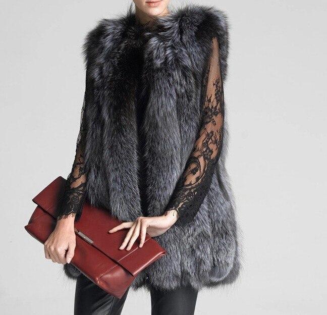 Russe style femmes naturel silver fox fur vest, nouveau design femme automne hiver chaud épais gilet de fourrure gilet femme