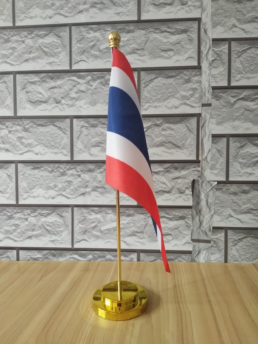 Thailand Table Desk Flag With Wooden Base