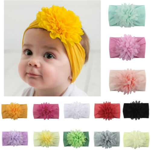 New Arrival Hot Sale Cute Kids Girl Baby Headband Infant Newborn Flower Bow Solid Color Soft Comfortable Hair Band Accessories