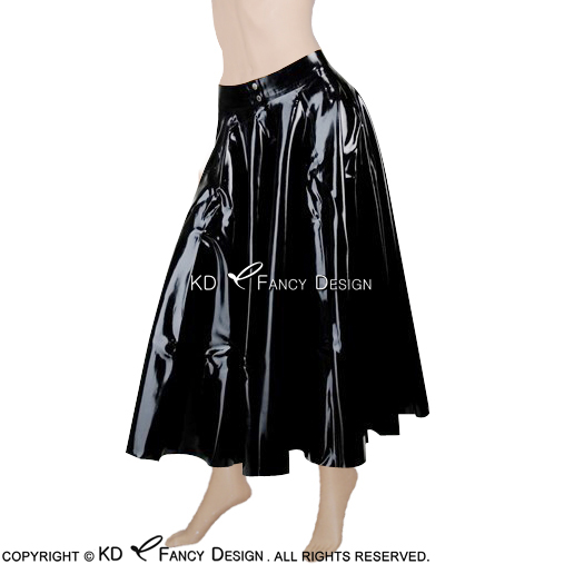 Black Sexy Mini Latex Pleated Skirt With Front Open And Buttons Short Rubber Skirt Bottoms Uniform DQ-0007 women fashion sexy lady schoolgirl cosplay sleepwear plaid night super mini pleated skirt short skirt