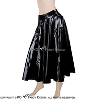 Black Sexy Mini Latex Pleated Skirt With Front Open And Buttons Short Rubber Skirt Bottoms Uniform DQ 0007