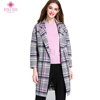 PZLCXH 2017 Autumn Winter Women Wool Plaid Coat Femal Thick Turn Down Mid Long Loose Fashionable Outerwear Large Size ZL0892